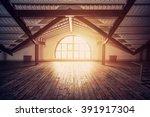 loft interior design. sun rays...   Shutterstock . vector #391917304