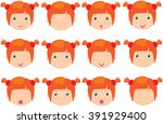 red haired girl emotions  joy ... | Shutterstock . vector #391929400