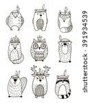 set of vector hand drawn indian ... | Shutterstock .eps vector #391934539