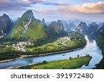 landscape of guilin  li river... | Shutterstock . vector #391972480