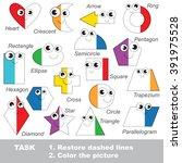 geometric shapes set in vector... | Shutterstock .eps vector #391975528