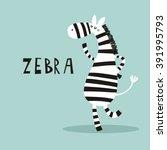 cartoon zebra vector print | Shutterstock .eps vector #391995793