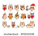 set of cute owls. vector... | Shutterstock .eps vector #392010538