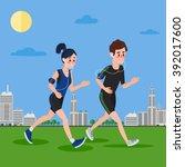 man running. woman running.... | Shutterstock .eps vector #392017600