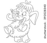coloring page of mammoth ... | Shutterstock .eps vector #392028340