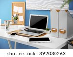 workplace with different... | Shutterstock . vector #392030263