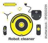 robotic vacuum cleaner flat...   Shutterstock . vector #392033254