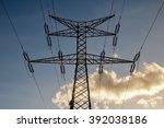 electricity power pylon | Shutterstock . vector #392038186