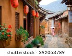 the streets of the old town... | Shutterstock . vector #392053789