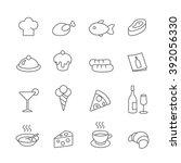 restaurant line icons vector... | Shutterstock .eps vector #392056330