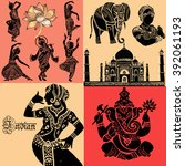 set of ornamental indian... | Shutterstock .eps vector #392061193