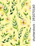 seamless watercolor yellow... | Shutterstock . vector #392070160