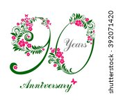 90 years anniversary. happy... | Shutterstock . vector #392071420