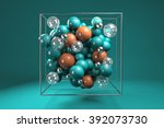 3d group of colorful glossy... | Shutterstock . vector #392073730