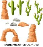 Cartoon Beautiful Cactus On...