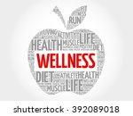 wellness apple word cloud... | Shutterstock . vector #392089018
