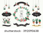 wedding elements collection... | Shutterstock .eps vector #392090638