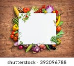 healthy food background and... | Shutterstock . vector #392096788