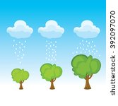 cartoon set of raining in to... | Shutterstock .eps vector #392097070