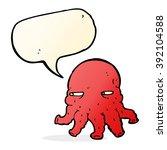cartoon alien face with speech... | Shutterstock .eps vector #392104588