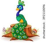 Cute Peacock Cartoon On Tree...