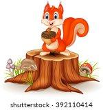 cartoon funny squirrel holding... | Shutterstock .eps vector #392110414