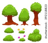 vector set of cartoon trees and ... | Shutterstock .eps vector #392118823
