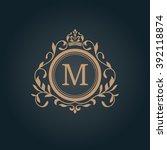 vintage monogram template | Shutterstock .eps vector #392118874