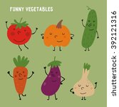 funny vegetables vector set   Shutterstock .eps vector #392121316
