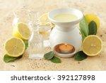lemon oil and aromatherapy...   Shutterstock . vector #392127898