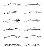 Stock vector original concept supercar sports car and sedan motor vehicle silhouette collection set on white 392133376