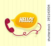 old phone with chat bubble | Shutterstock .eps vector #392143504