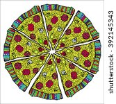 pizza. watercolor style vector ...   Shutterstock .eps vector #392145343