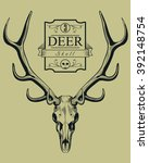 deer skull vintage engraving...   Shutterstock .eps vector #392148754