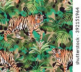tiger in the jungle pattern ... | Shutterstock .eps vector #392151964
