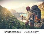 man traveler with big backpack...   Shutterstock . vector #392164594
