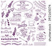set of 55 hand drawn design... | Shutterstock .eps vector #392165074