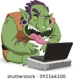 internet troll commenting on... | Shutterstock .eps vector #392166100