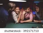 meeting for pool game with... | Shutterstock . vector #392171713