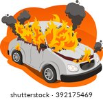 burning car illustration | Shutterstock .eps vector #392175469