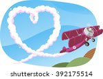skywriting a heart in the sky... | Shutterstock .eps vector #392175514