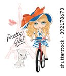 eiffel tower and cute girl with ...   Shutterstock .eps vector #392178673