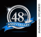 48th anniversary logo with blue ... | Shutterstock .eps vector #392180830