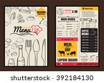 brochure or poster restaurant ... | Shutterstock .eps vector #392184130