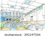 interior design cafe ...   Shutterstock . vector #392197534