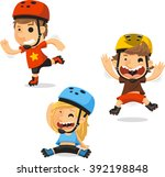 roller skating children cartoon ... | Shutterstock .eps vector #392198848