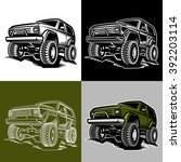 set of off road car truck 4x4... | Shutterstock .eps vector #392203114