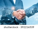 double exposure of business... | Shutterstock . vector #392216539