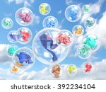 clothing in soap bubbles on sky ... | Shutterstock . vector #392234104