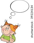 little girl dreams | Shutterstock .eps vector #39224134